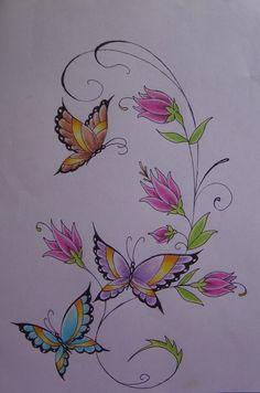tattoo butterfly borboletas by Antony-san. Informations About tattoo butterfly borboletas b Butterfly Drawing, Butterfly Tattoo Designs, Butterfly Painting, Butterfly Watercolor, Butterfly Flowers, Watercolor Tattoo, Art Sketches, Art Drawings, Tattoo Drawings