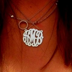 layered necklaces with monogram piece