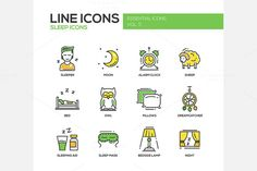 Sleep - Line Icons Set by Decorwith.me Shop on @creativemarket