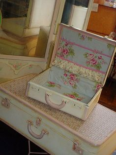 RESERVED Vintage Suitcase Shabby Chic Fabric by SimplyCottageChic, $120.00