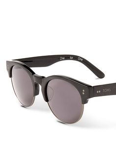 Classic matte-black sunglasses with a geometric keyhole bridge complements stylish, round lenses.