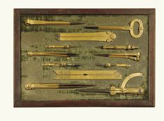 Set of Eight Gilt-Brass and Steel Drawing Instruments signed by Iacobus Lusuerg Faber circa 1683 Antique Tools, Old Tools, Vintage Tools, Vintage Art, Steel Drawing, Drafting Tools, Instruments, Brass Wood, Tools Hardware