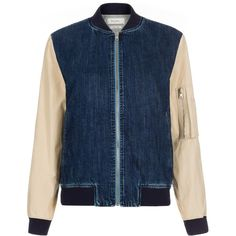 Paul Smith Women's Denim Bomber Jacket With Contrasting Sleeves (12.360.205 VND) ❤ liked on Polyvore featuring outerwear, jackets, indigo, blue denim jacket, collar jacket, blue bomber jacket, blue striped jacket and denim jacket