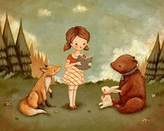 Woodland Storytime Print 10x8 Children's Art Girl di thelittlefox