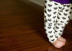Image of organic cotton black + white heart cuffed leggings