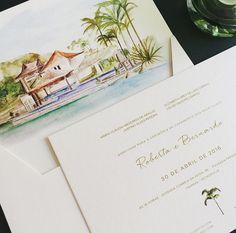 Convite Aquarela. Convite de casamento em papel especial 500g, impresso em Silk com alto relevo e aquarela impressa em digital na parte interna do envelope.
