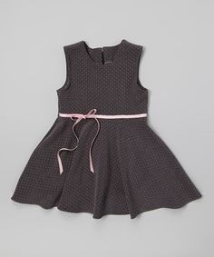 Look at this #zulilyfind! Anna Bouché Charcoal Polka Dot A-Line Dress - Toddler & Girls by Anna Bouché #zulilyfinds