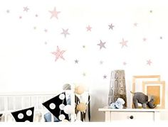 'I-love-Wandtattoo Was 10106 Children's Bedroom Wall Sticker Set Stars with Pattern for Girls for Sticking Wall Tattoo Wall Sticker Wall Decoration Baby Room Wall Decor, Wall Decor Set, Bedroom Wall, Wall Stickers Animals, Nursery Wall Stickers, Moon Decor, Normal Wallpaper, Star Nursery, Wall Tattoo