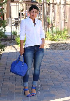My Fav Cobalt Blue Heels + Jeans - Mimi G Style