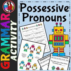 Possessive Pronoun Activity and Bonus Task Cards Pronoun Activities, Group Activities, Student Reading, Guided Reading, English Pronouns, 3rd Grade Writing, Grammar And Punctuation, Literacy Stations, Activity Centers