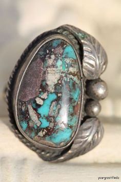 Navajo silver ring set with rare Crow Springs mine Turquoise.