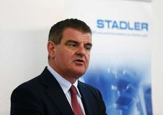 Spuhler, President and Chairman of Stadler Rail AG, speaks during a news conference  at the «Stadler Minsk» plant in Fanipol