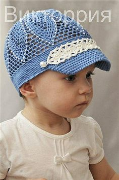 Blue Flower Hat with Pearls free crochet graph pattern.