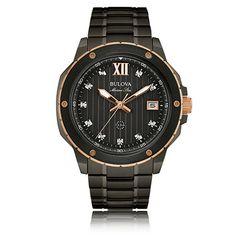 Bulova Men's Marine Star Diamond Stainless Steel Bracelet Watch 47mm 98D128