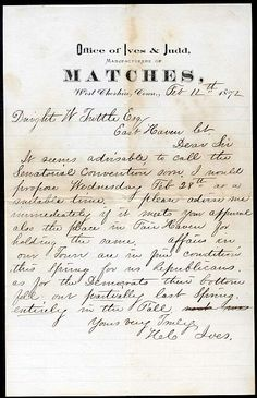 Matches Co. from 1872 old letter