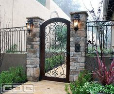 Mediterranean style entry gate with hand-forged scrolling & wooden frame by Dynamic Garage Door - by Kay Berry Front Yard Fence, Front Gates, Entry Gates, Front Yard Landscaping, Door Entry, Front Doors, Vine Fence, Fence Gates, Garage Doors