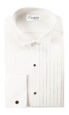 """Roma"" Ivory Wingtip Tuxedo Shirt"