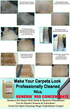 Looking for the best carpet cleaner? Save time and money with DIY carpet cleaning. Genesis 950 is a green, all purpose cleaner that can make your carpet look & smell professionally cleaned. Remove the toughest stains!