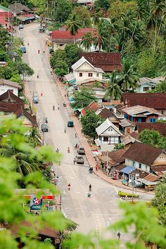 Luang Prabang in the north part of Laos. Luang Prabang means Royal Buddha Image. The city is well known for its numerous Buddhist temples and monasteries. The city consists of four main roads located on a peninsula between the Nam Khan and Mekong rivers.