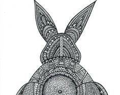Black and White Zentangle Bunny Butt drawing Print