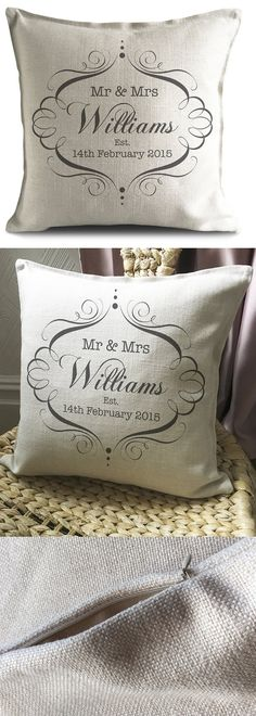 These personalised Wedding Cushion Covers make the ideal gift for the bride and groom on their wedding day or anniversary. Gifts for Weddings. Gifts for newly weds. Gifts for anniversary. Gifts for valentine. Gifts for Husband Wife. #weddinggifts #weddingpresents #handmadeisbest #handmadegift #handmade #giftsforher #giftsforhim #homedecor #newhome #home #giftsforcouples #hygee #living #cosy #affiliatelink