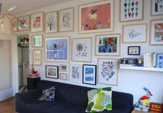a wonderful children's art wall gallery in the playroom. Displaying Kids Artwork, Artwork Display, Display Wall, Eclectic Living Room, My Living Room, Living Area, Art Wall Kids, Art For Kids, Kid Art