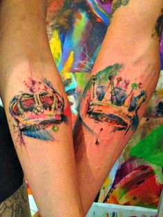"""His and Hers """"watercolor"""" crown tattoos"""