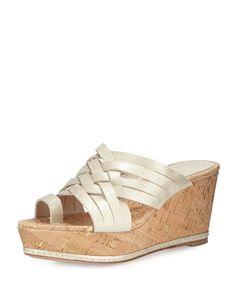 Flore Woven Platform Wedge Sandal, Platino - Donald J Pliner