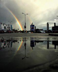 D o u b l e  R a i n b o w # #puddle #reflection #potofgold #traffic #pattern