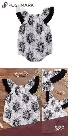 Boutique Baby Girl White &Black Lace Floral Romper Trendy one piece bubble Romper with black and white floral design. Black lace at shoulders. Trendy summer outfit. One Pieces Bodysuits