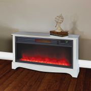 LifeSmart LifeZone Electric Infrared Quartz Standing Fireplace Heater, White Image 2 of 5