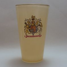Chance glass 1953 Coronation yellow glass tumbler Art Deco Glass, Glass Paperweights, Murano Glass, Pint Glass, Candlesticks, Birmingham, Tumbler, England, Yellow