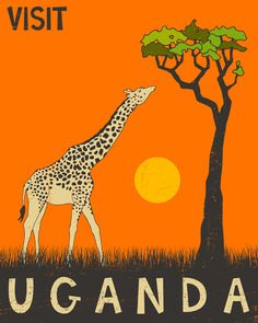 Uganda Travel Poster Art Print.  Love this. http://www.aventure.co.uk/Uganda-Venture.html #gapyear #travel #africa