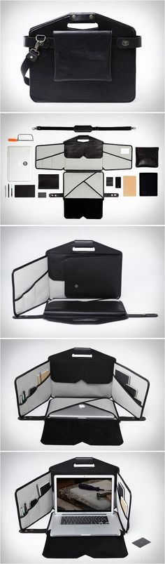 Mobile Laptop Workstation | techlovedesign.com  measure your laptop or pad and make one up. i'd add something to keep those sides standing up too. maybe cut some plastic to size would work. hmmmm