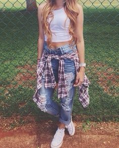 Hipster | Red Flannel | Worn-Out Jeans | White Crop-Top