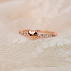 Fashion Lovely Heart Simple Cubic Zirconia Alloy Plated 18K Rose Gold Women's Ring