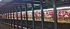 200+ Cheerleaders Waiting For The Subway In New York City