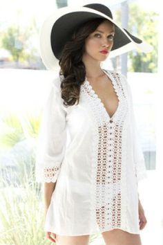 1b7f13e7c4a The La Blanca 2013 Peep Show white crochet edge tunic has a v neck front  and crochet detail down the front and sleeves. This cover up is sheer.