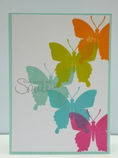 Beautiful butterflies... try sentiment in lower left?  Marits blog: Repeats & Rainbows
