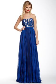 Strapless Pleated Gown by La Femme in Marine Blue