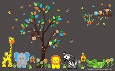 "Jungle Safari Animals Repositionable Reusable Wall Decal Baby Nursery 85"" x 140"""