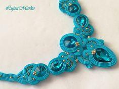 Turquoise gold elegant soutache necklace