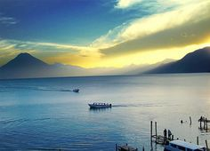 Lake Atitlan in Panajachel, Guatemala. This place is beautiful, surrounded by three valcanos.