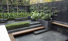modern-garden-ideas-with-slate-flooring-and-wooden-floating-benches.jpg…