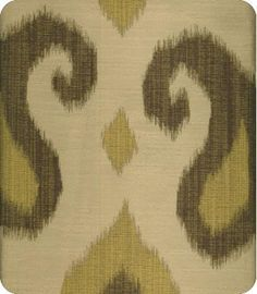 Aladdin Gold Yellow Natural Ikat Fabric  Lewis & Sheron