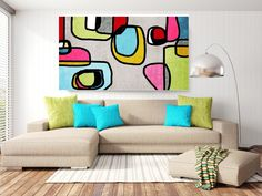 Vibrant Colorful Abstract-0-37. Mid-Century Modern Blue Green Canvas Art Print, Mid Century Modern Canvas Art Print up to 72 by Irena Orlov