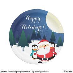 Santa Claus and penguins whimsical Christmas