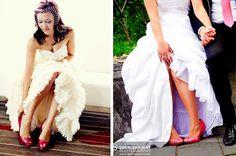 Novias con zapatos de color Coral