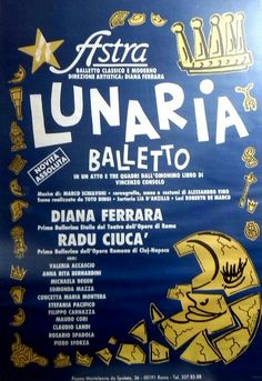 Astra Roma Ballet / Manifesto spettacolo Lunaria (1986) Design Toto Dinoi
