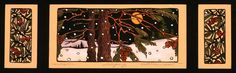 Winters Eve--Kathleen West (Love the format of two smaller art pieces on side of big one in middle - - - do this above mantle headboard!)